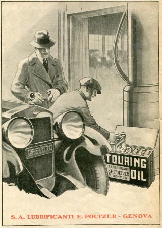 """1930 * Anuncio Original """"Touring Oil -Lubrificanti E.Foltzer Genova"""" en Passepartout"""