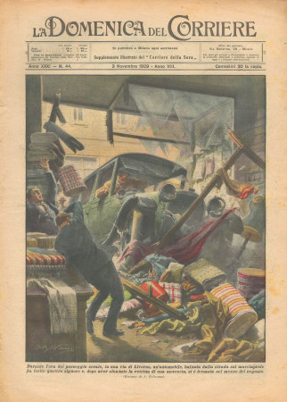 """1929 * Revista Histórica Original """"La Domenica Del Corriere (N°44) - Automobile Sfonda Vetrina Merceria"""""""