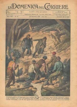 """1929 * Revista Histórica Original """"La Domenica Del Corriere (N°47) - Grande Galleria dell'Appennino Tosco-Emiliano"""""""