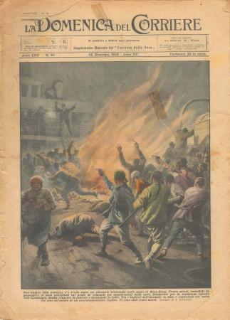 """1929 * Revista Histórica Original """"La Domenica Del Corriere (N°51) - Tragica Lotta Notturna su Piroscafo Britannico"""""""