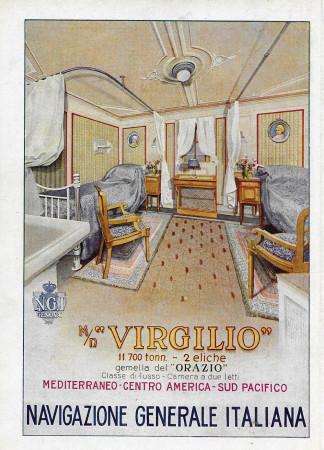 """1928 * Anuncio Original """"Navigazione Generale Italiana - Virgilio - Classe di Lusso - Camera a Due Letti"""" en Passepartout"""