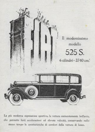 """1929 * Anuncio Original """"Fiat - 525 S"""" en Passepartout"""
