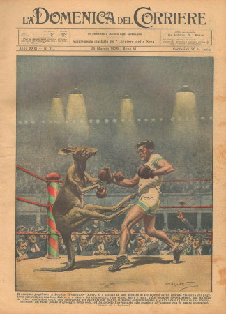 """1929 * Revista Histórica Original """"La Domenica Del Corriere (N°21) - Il Canguro Pugilista"""""""