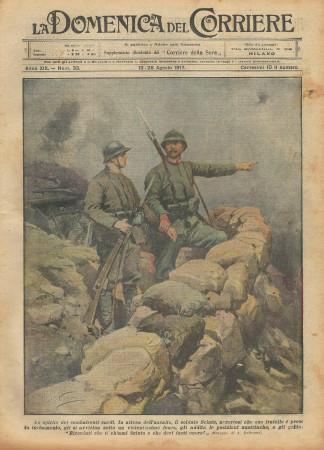 """1917 * La Domenica Del Corriere (N°33) """"Combattenti Sardi - Attacco agli Austriaci"""" Revista Original"""