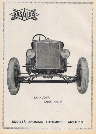 """1929 * Anuncio Original """"Ansaldo - La Nuova Ansaldo 10"""" en Passepartout"""