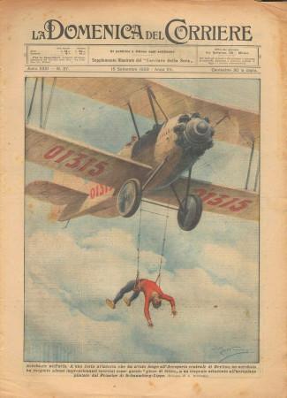 """1929 * Revista Histórica Original """"La Domenica Del Corriere (N°37) - Acrobazie Nell'Aria"""""""
