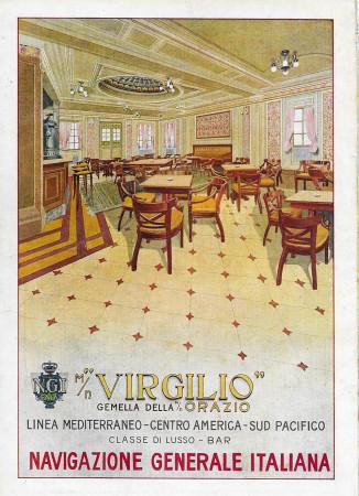 "1928 * Anuncio Original ""Navigazione Generale Italiana - Virgilio - Classe di Lusso - Bar"" en Passepartout"