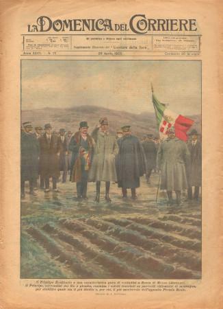 """1925 * La Domenica Del Corriere (N°17) """"Principe Ereditario a Rocca di Mezzo - Abruzzo"""" Revista Original"""