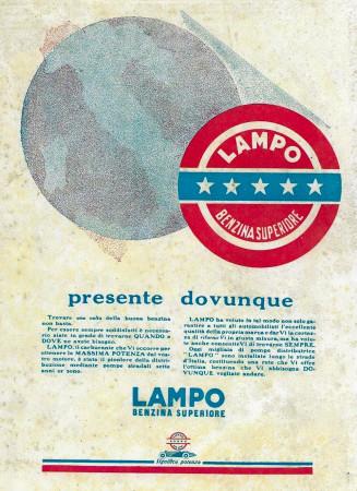 "1929 * Anuncio Original ""Lampo - Benzina Superiore - Presente Dovunque"" en Passepartout"