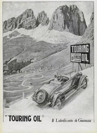 "1928 * Anuncio Original ""Touring Oil - Lubrificante di Garanzia"" en Passepartout"