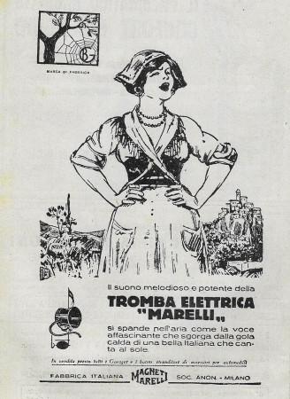 """1929 * Anuncio Original """"Magneti Marelli - Tromba Elettrica"""" en Passepartout"""