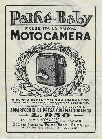 """1928 * Anuncio Original """"Pathè-Baby - La Nuova Motocamera"""" en Passepartout"""