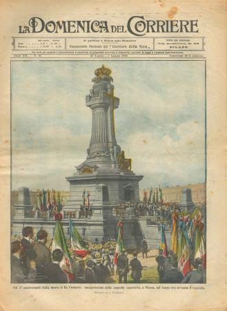 """1910 * Revista Histórica Original """"La Domenica Del Corriere (N°31) - X° Anniversario Morte Re Umberto"""""""