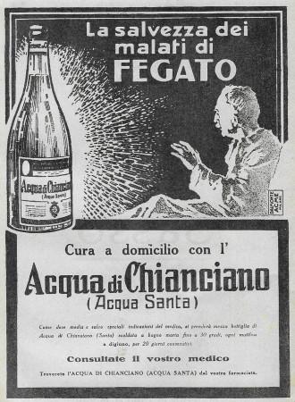 """1928 * Anuncio Original """"Acqua di Chianciano - Salvezza Dei Malati Di Fegato"""" en Passepartout"""