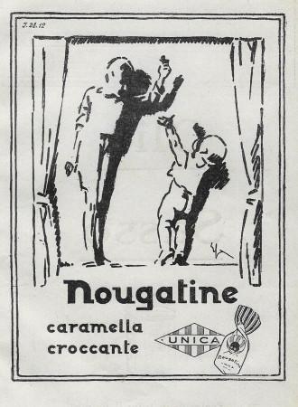 """1928 * Anuncio Original """"Unica - Nougatine Caramella Croccante"""" en Passepartout"""