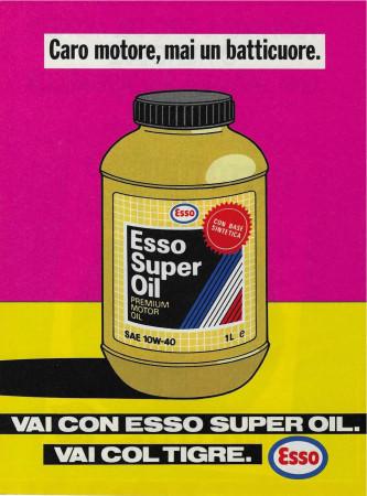 "1989 * Anuncio Original ""Esso -Super Oil – Fucsia"" Color en Passepartout"