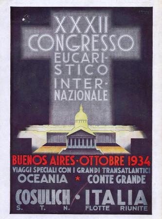 """1934 * Anuncio Original """"Italia Flotte Riunite - XXXII Congresso Eucaristico Internazionale"""" en Passepartout"""