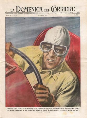 """1953 * La Domenica Del Corriere (N°34) """"I Grandi dello Sport Tazio Nuvolari Corridore """" Revista Original"""