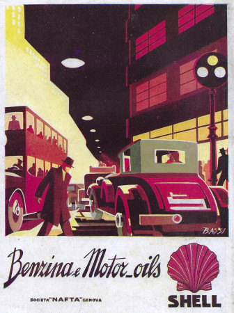 "1932 * Anuncio Original ""Shell - Benzina e Motor_Oils - BASSI"" en Passepartout"