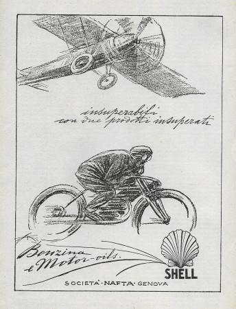 """1929 * Anuncio Original """"Shell - Prodotti Insuperabili - ALDO MAZZA"""" en Passepartout"""