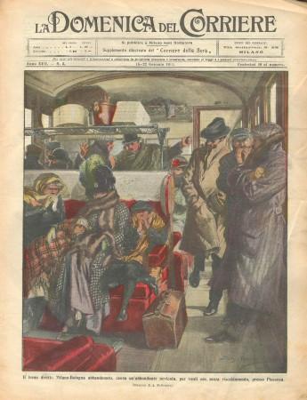 """1911 * La Domenica Del Corriere (N°3) """"Treno Milano-Bologna - Mercato d'Animali"""" Revista Original"""