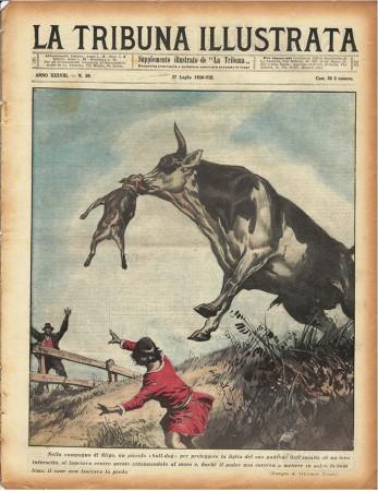 """1930 * Revista Histórica Original """"La Tribuna Illustrata (N°30) - Bulldog Protegge Famiglia da Toro"""""""