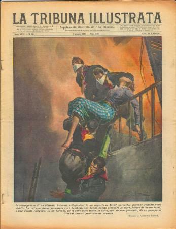 """1935 * Revista Histórica Original """"La Tribuna Illustrata (N°23) - Incendio Negozio a Terni"""""""