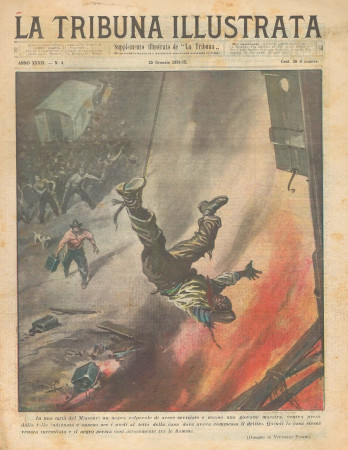 """1931 * Revista Histórica Original """"La Tribuna Illustrata (N°4) - Nero Bruciato Vivo Dalla Folla"""""""