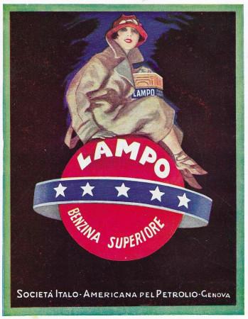 "1928 * Anuncio Original ""Lampo - Benzina Superiore - Donna"" en Passepartout"