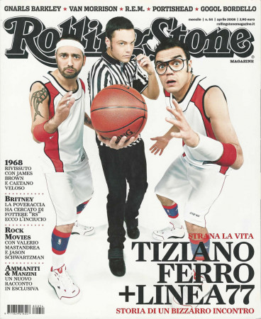 "2008 (N54) * Portada de Revista Rolling Stone Original ""Tiziano Ferro + Linea 77"" en Passepartout"