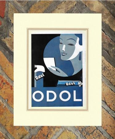 """1940 * Anuncio Original Higiene y Belleza """"Odol - Pasta Dentífrica"""" Color en Passepartout"""