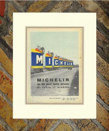 """1940 * Anuncio Original Neumáticos """"Michelin – 50° Michelin"""" Color en Passepartout"""