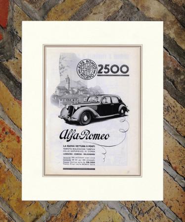 "1939 * Anuncio Original ""Alfa Romeo - 2500"" en Passepartout"