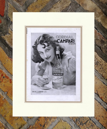 """1934 * Anuncio Original """"Campari Cordial -  Foto CAMUZZI"""" en Passepartout"""