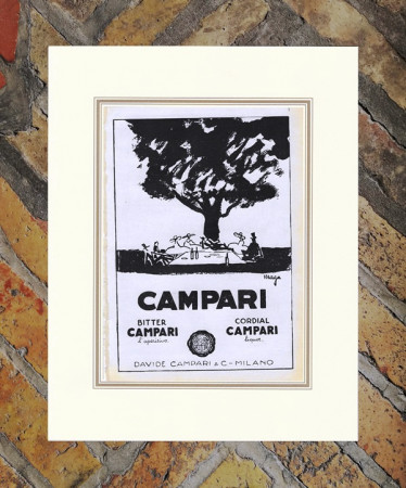 "1929 * Anuncio Original ""Campari Bitter Cordial -  MAGA"" en Passepartout"