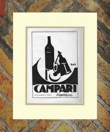 """1930 * Anuncio Original """"Campari Cordial -  NIZZOLI"""" en Passepartout"""
