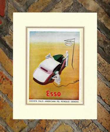 "1941 * Anuncio Original ""Esso - Servizio - BERNAZZOLI"" Color en Passepartout"