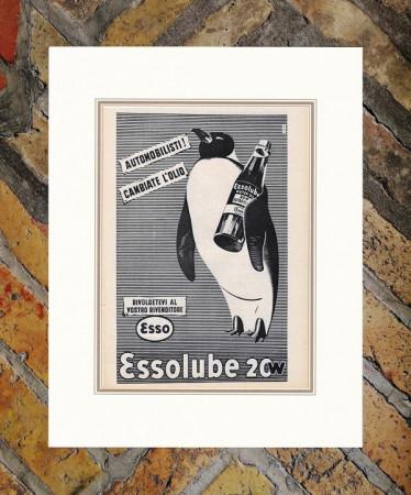 """1949 * Anuncio Original """"Esso - Essolube - ITAM"""" en Passepartout"""