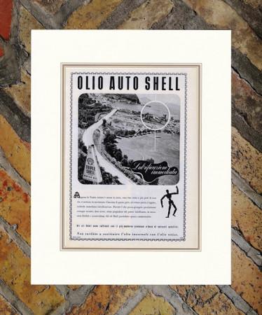 "1939 * Anuncio Original ""Shell - Olio Auto - ERBERTO CARBONI"" en Passepartout"
