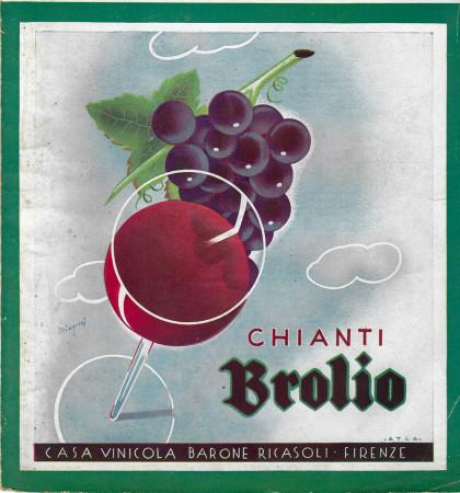 """1934 * Anuncio Original """"Chianti Brolio - Uva E Bicchiere Di Vino - MINGOTTI"""" en Passepartout"""