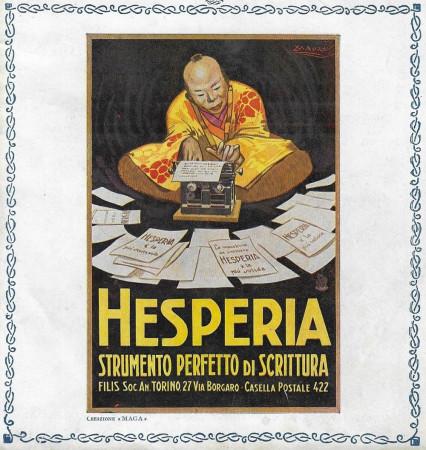 """1923 * Anuncio Original """"Hesperia - Strumento Perfetto Di Scrittura - MAUZAN"""" en Passepartout"""