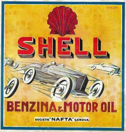 "1928 * Anuncio Original ""Shell - Benzina e Motor Oil - BASSI"" en Passepartout"