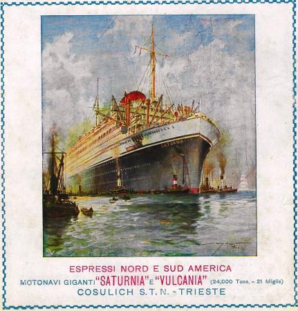 "1928 * Anuncio Original ""Cosulich - Motonavi Saturnia e Vulcania"" en Passepartout"