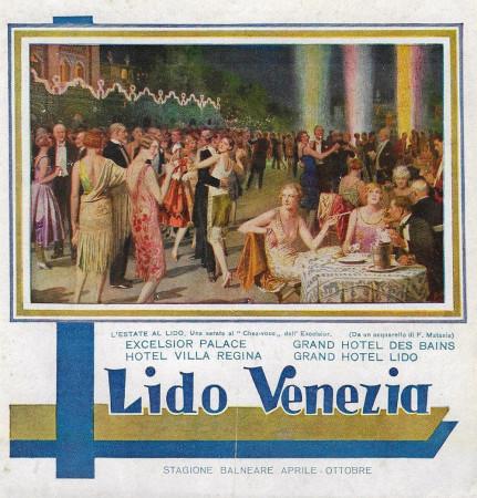 """1928 * Anuncio Original """"Lido Venezia Stagione Balneare - F. MATANIA"""" en Passepartout"""
