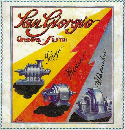 "1928 * Anuncio Original ""Pompe San Giorgio - Giallo, Arancione, Grigio - BIANCHI"" en Passepartout"