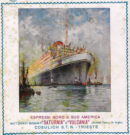 """1928 * Anuncio Original """"Cosulich - Espressi Nord E Sud America - Saturnia e Vulcania"""" en Passepartout"""