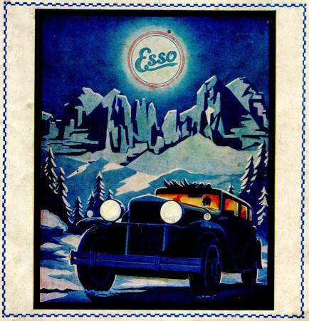 """1930 * Anuncio Original """"Esso - Paesaggio Innevato"""" en Passepartout"""