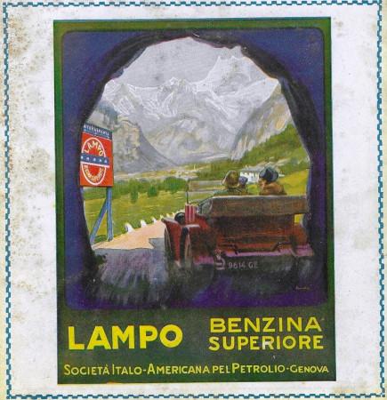 """1928 * Anuncio Original """"Lampo - Benzina Superiore - Galleria"""" en Passepartout"""