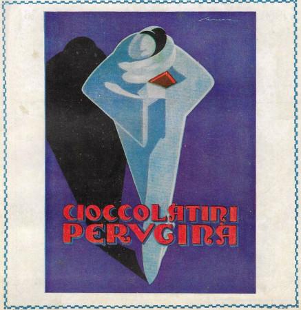 """1928 * Anuncio Original """"Perugina - Cioccolatini (Sfondo Blu) - SENECA"""" Color en Passepartout"""