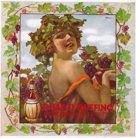 """1928 * Anuncio Original """"Chianti Ruffino - Cantine di Pontassieve (Donna) - VAL."""" en Passepartout"""